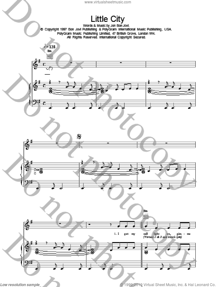 Little City sheet music for voice, piano or guitar by Bon Jovi, intermediate skill level