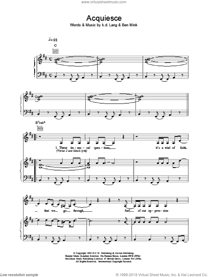 Acquiesce sheet music for voice, piano or guitar by K.D. Lang. Score Image Preview.