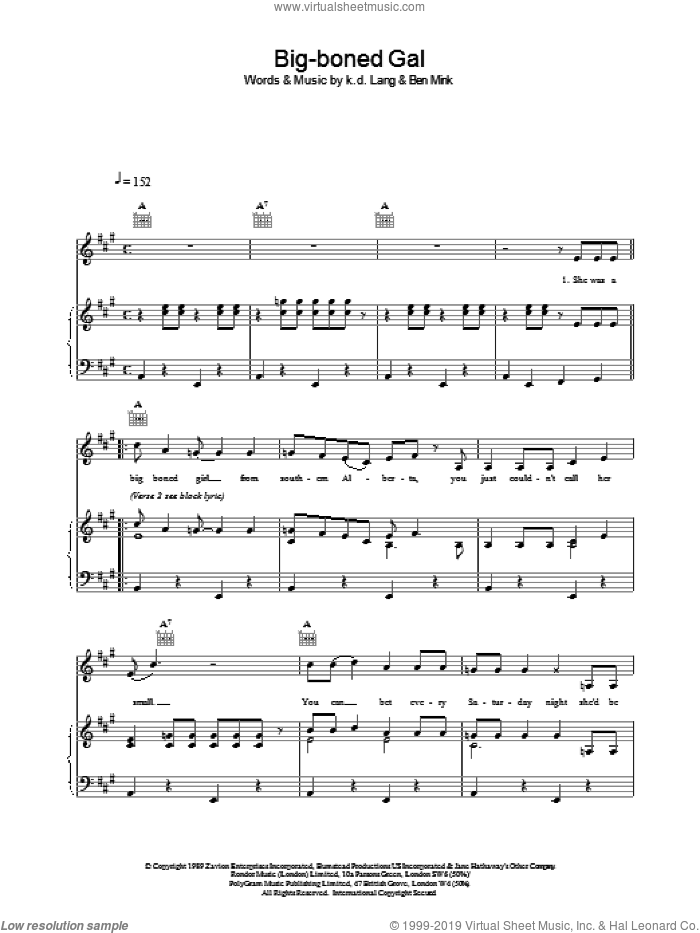 Big-boned Gal sheet music for voice, piano or guitar by K.D. Lang. Score Image Preview.