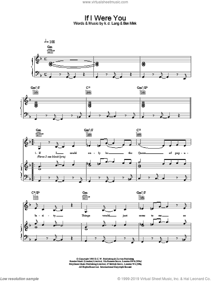 If I Were You sheet music for voice, piano or guitar by K.D. Lang. Score Image Preview.
