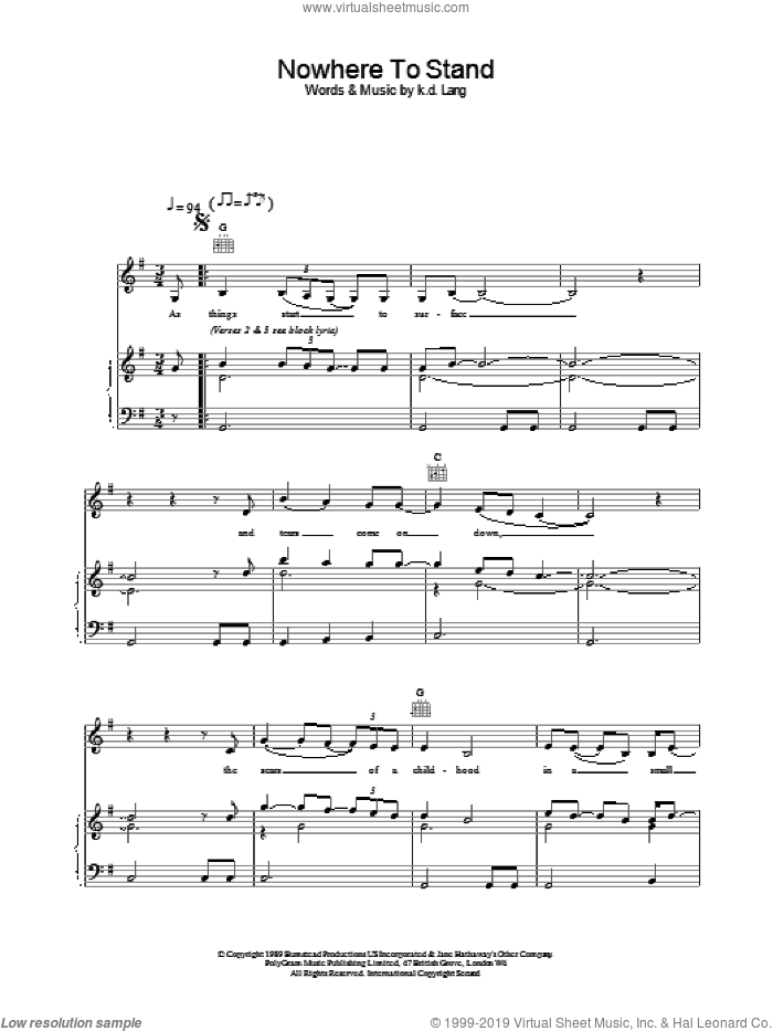 Nowhere To Stand sheet music for voice, piano or guitar by K.D. Lang. Score Image Preview.