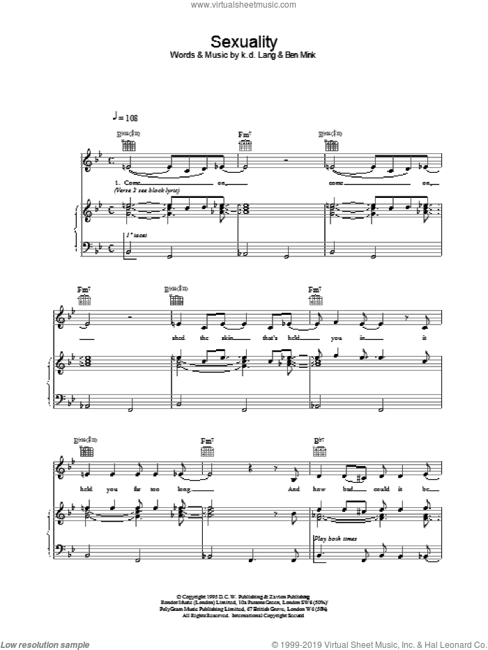 Sexuality sheet music for voice, piano or guitar by K.D. Lang. Score Image Preview.