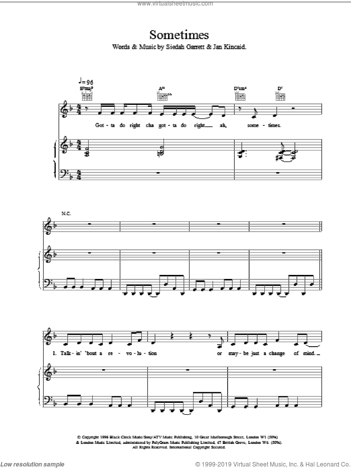 Sometimes sheet music for voice, piano or guitar by Brand New Heavies