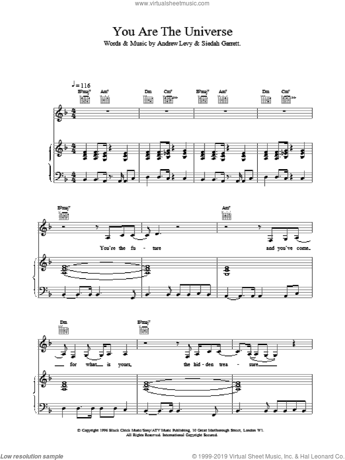 You Are The Universe sheet music for voice, piano or guitar by Brand New Heavies, intermediate