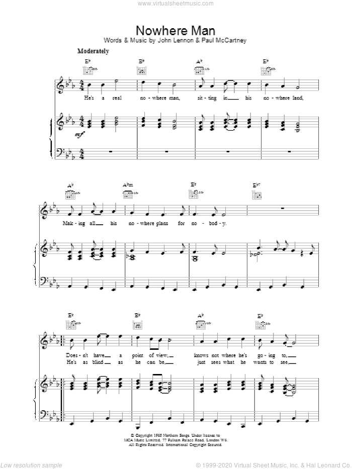 Nowhere Man sheet music for voice, piano or guitar by The Beatles. Score Image Preview.