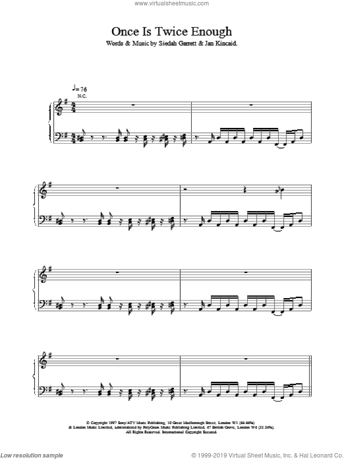Once Is Twice Enough sheet music for voice, piano or guitar by Brand New Heavies