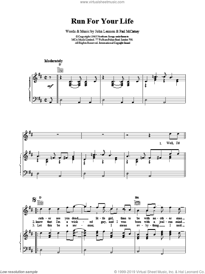 Run For Your Life sheet music for voice, piano or guitar by The Beatles, intermediate. Score Image Preview.