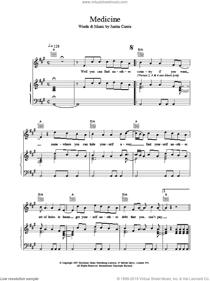 Medicine sheet music for voice, piano or guitar by Del Amitri, intermediate voice, piano or guitar. Score Image Preview.
