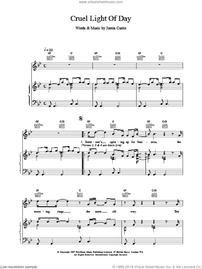 Cruel Light Of Day sheet music for voice, piano or guitar by Del Amitri, intermediate skill level