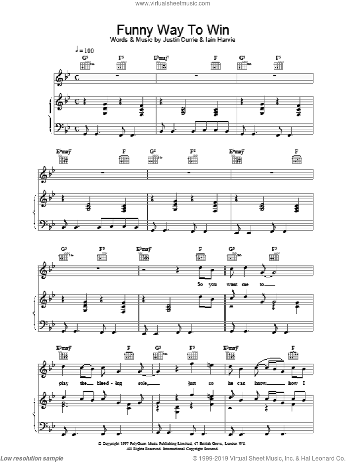 Funny Way To Win sheet music for voice, piano or guitar by Del Amitri. Score Image Preview.