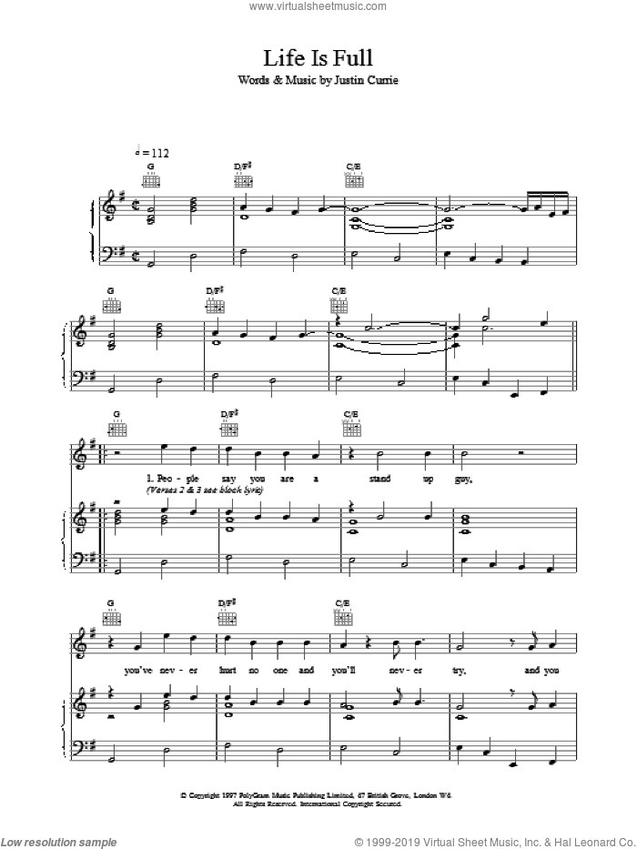 Life Is Full sheet music for voice, piano or guitar by Del Amitri