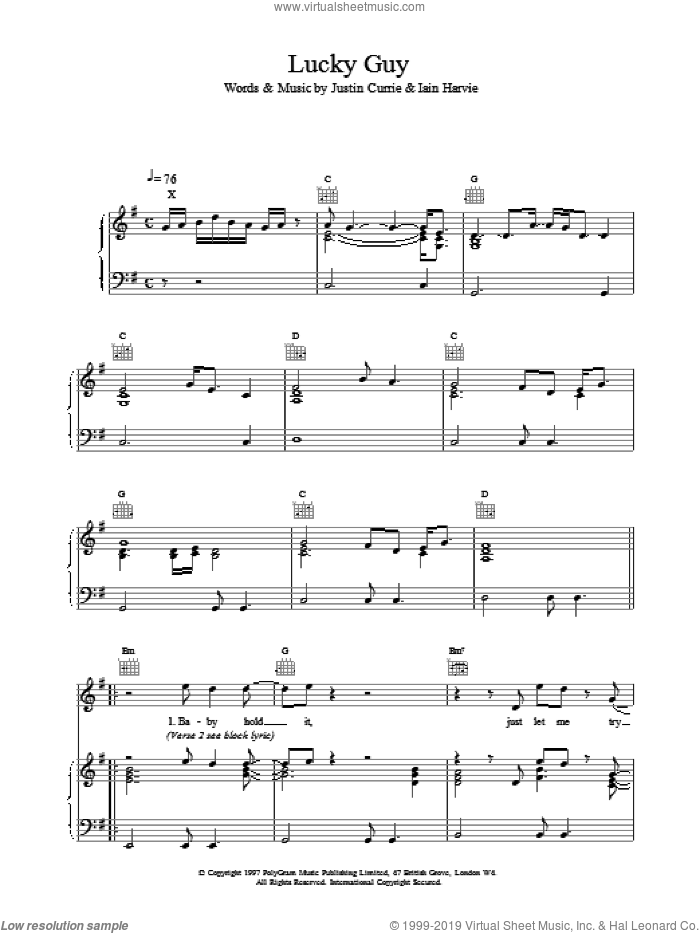 Lucky Guy sheet music for voice, piano or guitar by Del Amitri. Score Image Preview.