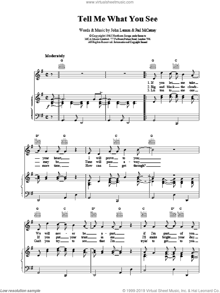 Tell Me What You See sheet music for voice, piano or guitar by The Beatles, intermediate. Score Image Preview.