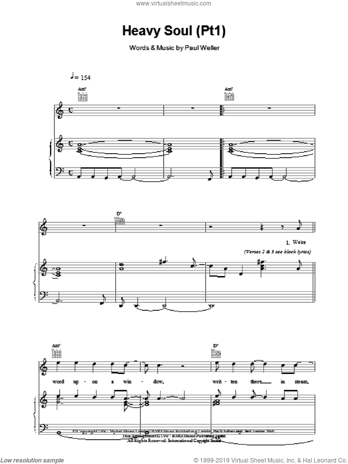 Heavy Soul (Pt1) sheet music for voice, piano or guitar by Paul Weller. Score Image Preview.