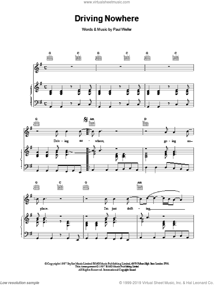 Driving Nowhere sheet music for voice, piano or guitar by Paul Weller. Score Image Preview.