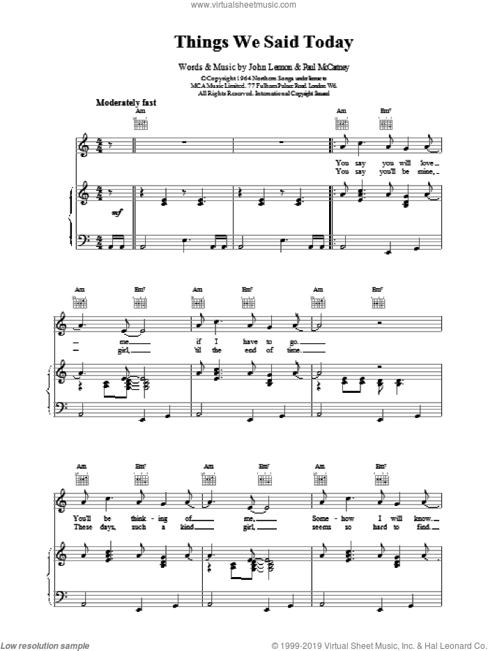 Things We Said Today sheet music for voice, piano or guitar by The Beatles, intermediate. Score Image Preview.