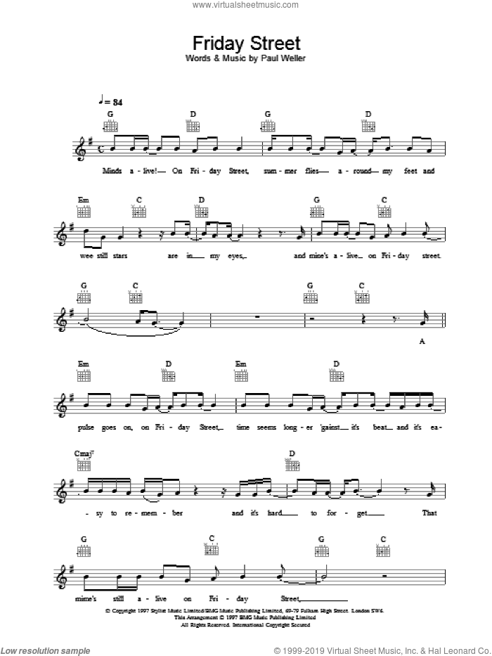 Friday Street sheet music for voice and other instruments (fake book) by Paul Weller, intermediate skill level