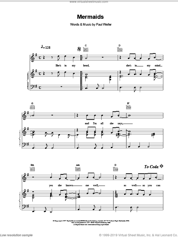 Mermaids sheet music for voice, piano or guitar by Paul Weller, intermediate skill level