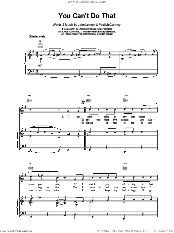 You Can't Do That sheet music for voice, piano or guitar by The Beatles. Score Image Preview.