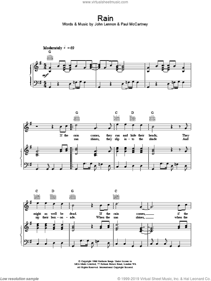 Rain sheet music for voice, piano or guitar by The Beatles. Score Image Preview.