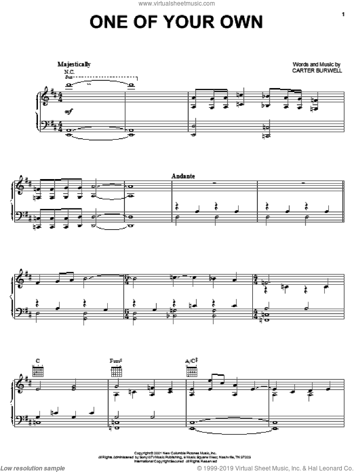 One Of Your Own sheet music for voice, piano or guitar by Carter Burwell, intermediate skill level