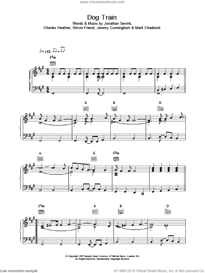 Dog Train sheet music for voice, piano or guitar by The Levellers, intermediate voice, piano or guitar. Score Image Preview.