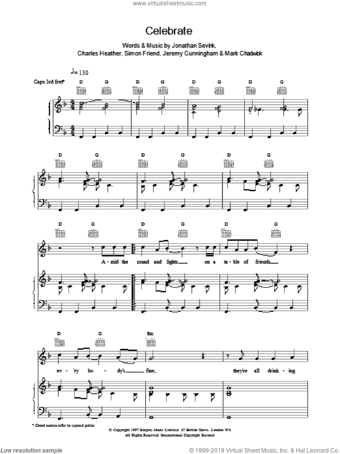 Celebrate sheet music for voice, piano or guitar by The Levellers. Score Image Preview.