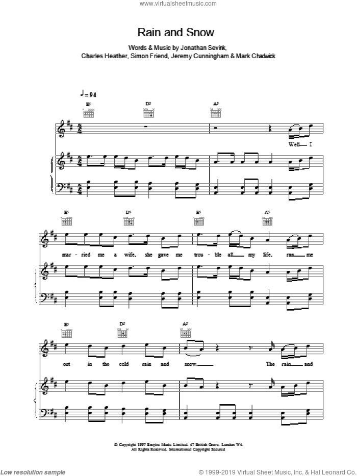 Rain And Snow sheet music for voice, piano or guitar by The Levellers, intermediate