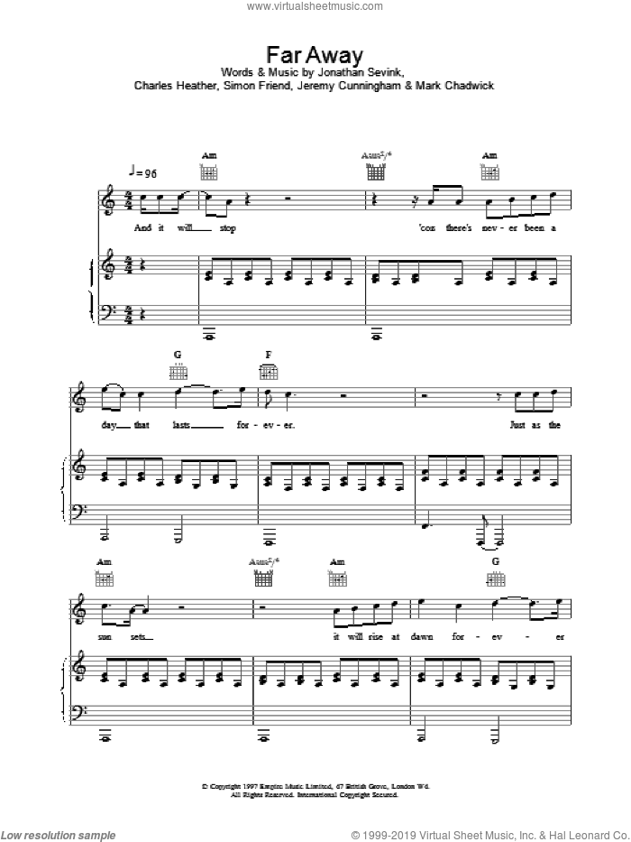 Far Away sheet music for voice, piano or guitar by The Levellers, intermediate