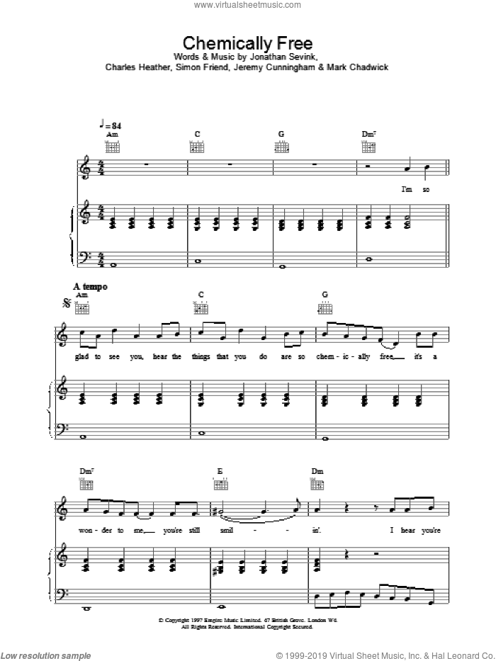 Chemically Free sheet music for voice, piano or guitar by The Levellers. Score Image Preview.