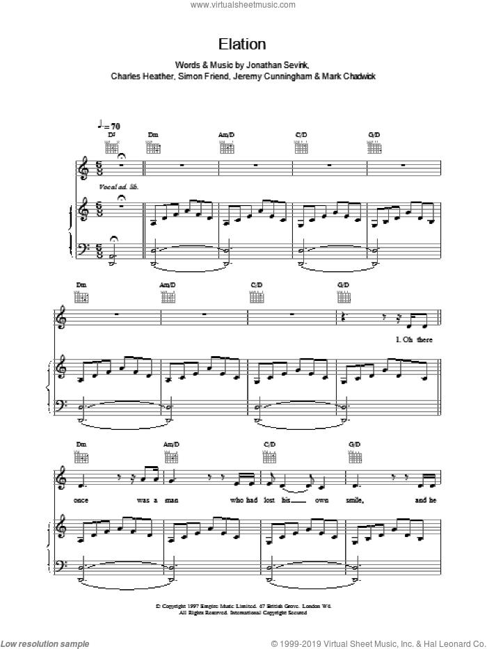 Elation sheet music for voice, piano or guitar by The Levellers. Score Image Preview.