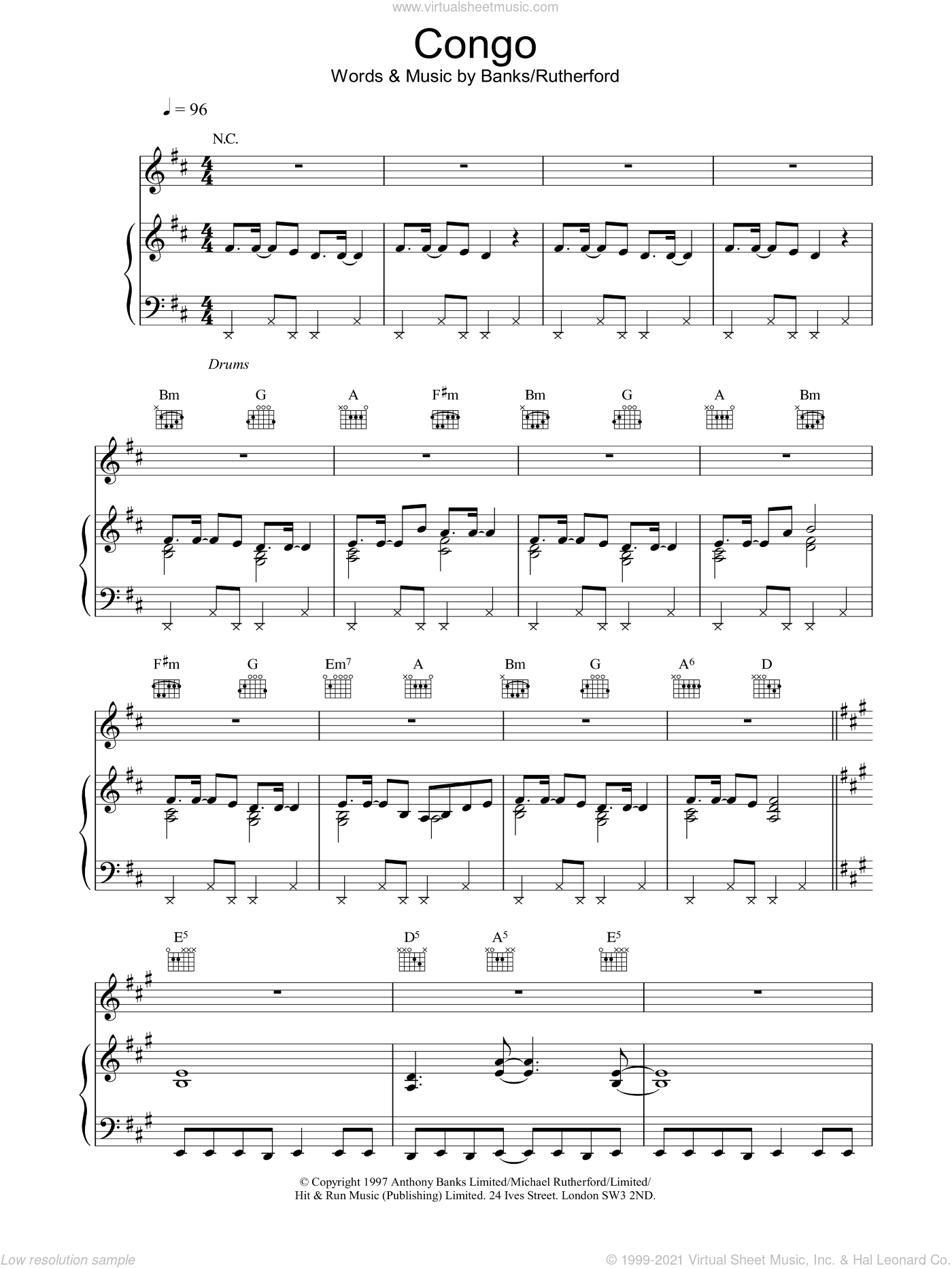 Congo sheet music for voice, piano or guitar by Genesis, intermediate. Score Image Preview.
