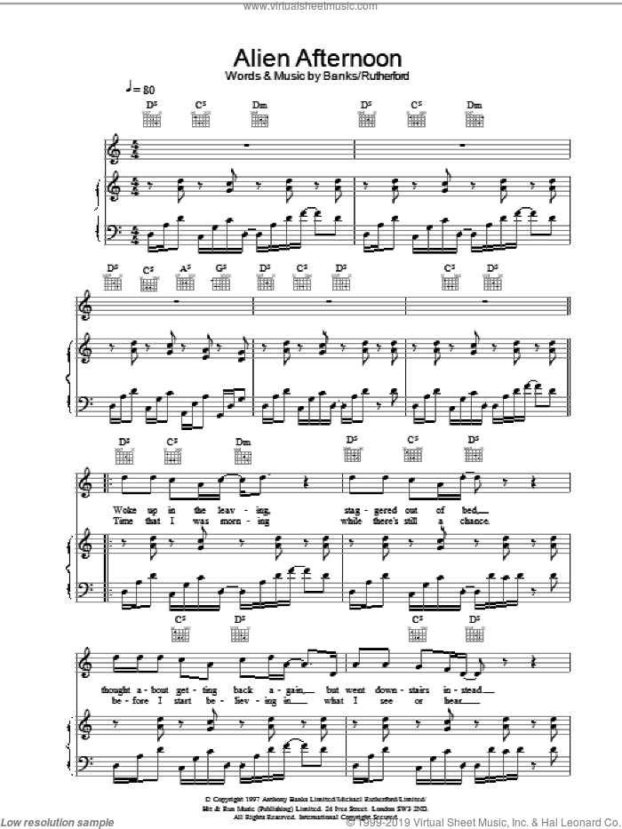 Alien Afternoon sheet music for voice, piano or guitar by Genesis. Score Image Preview.