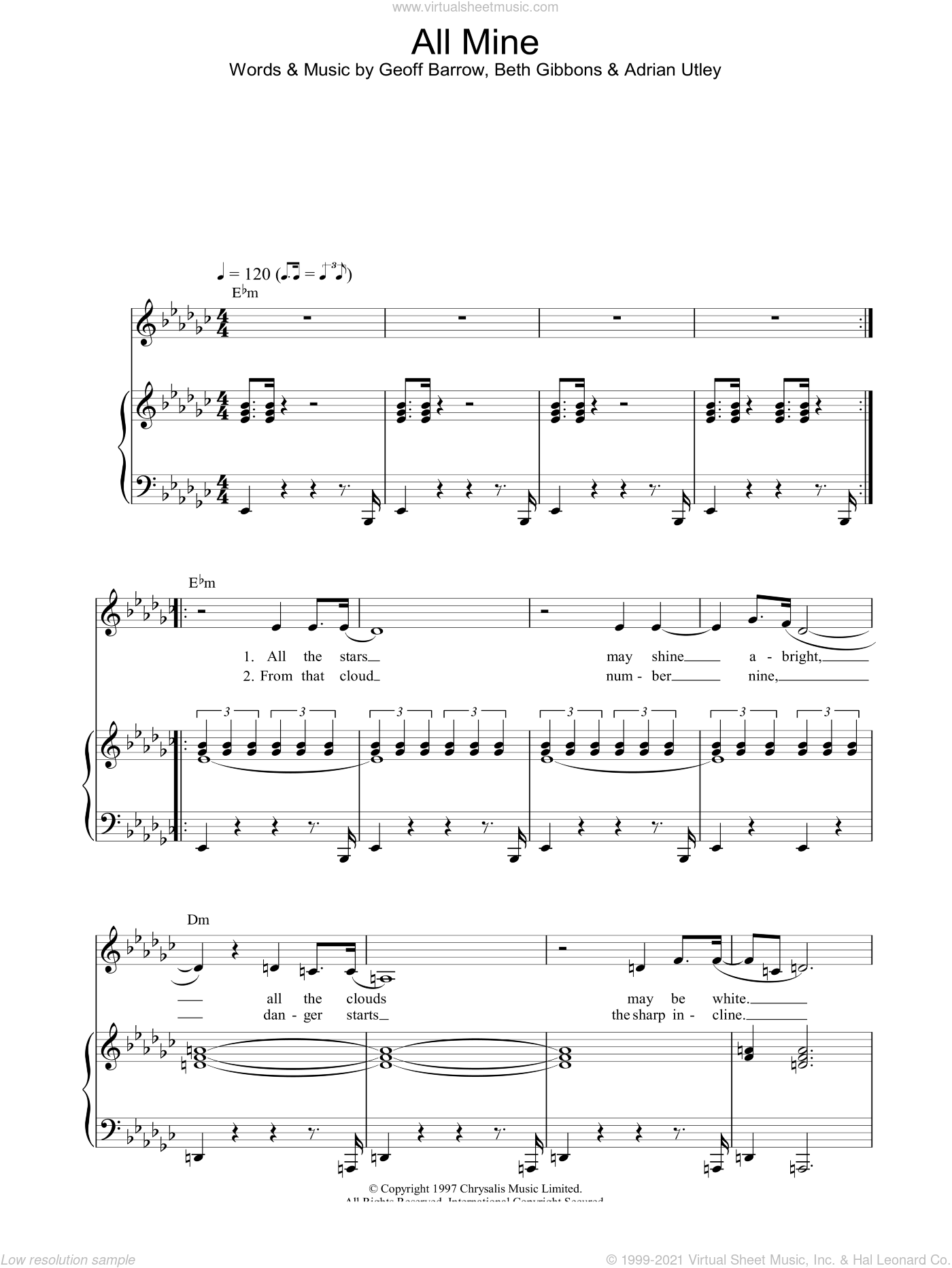 All Mine sheet music for voice, piano or guitar by Portishead, intermediate voice, piano or guitar. Score Image Preview.