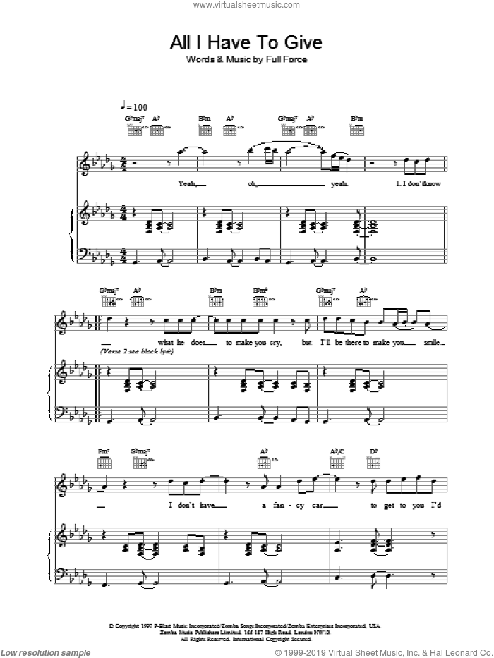 All I Have To Give sheet music for voice, piano or guitar by Backstreet Boys, intermediate. Score Image Preview.