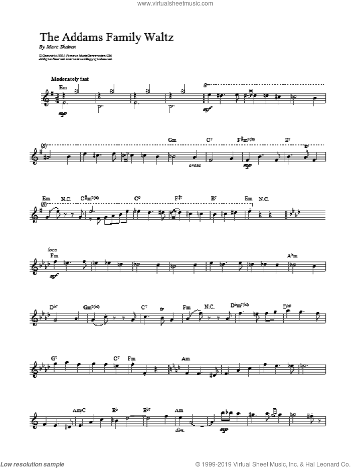 Addams Family Waltz sheet music for voice and other instruments (fake book) by Marc Shaiman, intermediate skill level