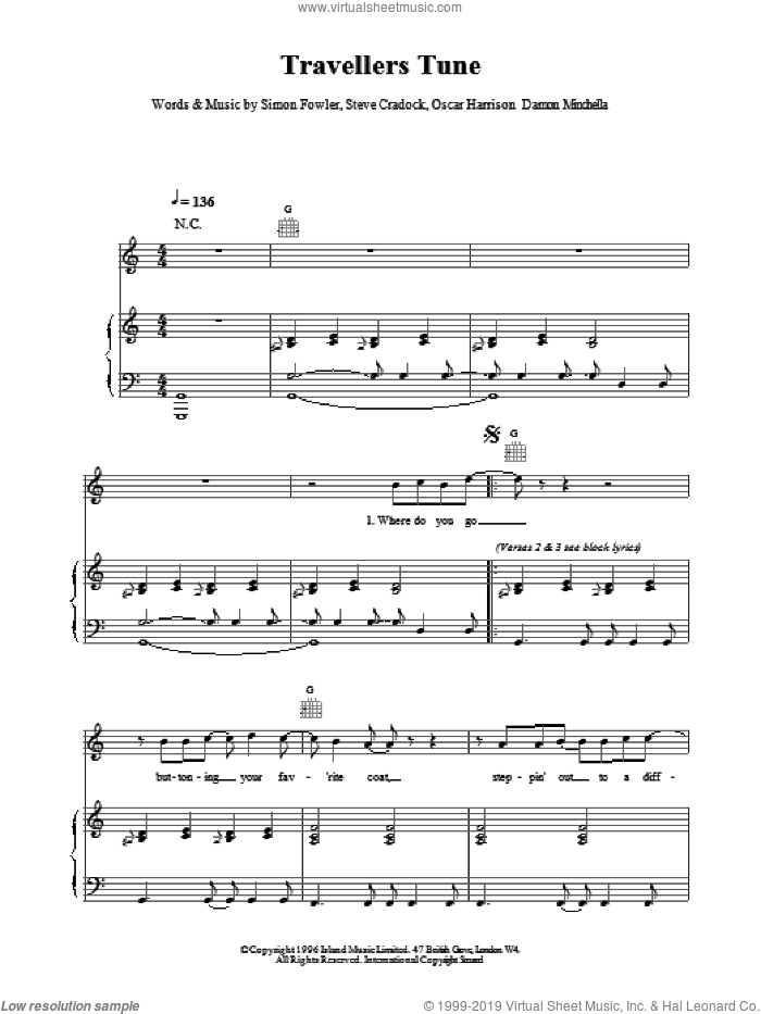 Travellers Tune sheet music for voice, piano or guitar by Ocean Colour Scene. Score Image Preview.
