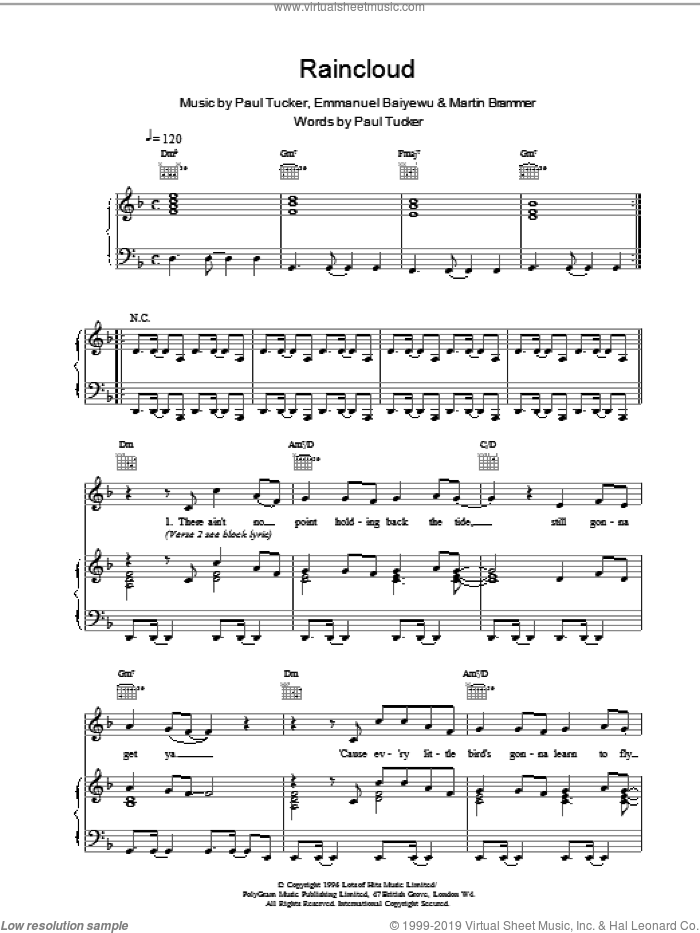 Raincloud sheet music for voice, piano or guitar by Lighthouse Family