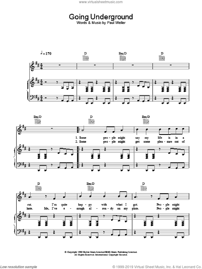 Going Underground sheet music for voice, piano or guitar by The Jam. Score Image Preview.