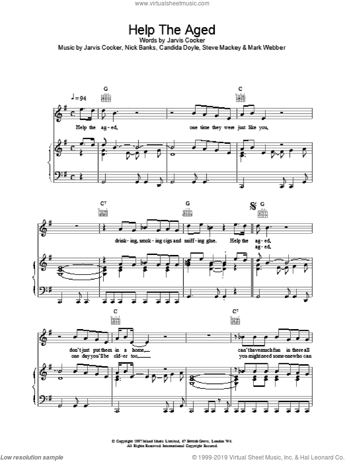 Help The Aged sheet music for voice, piano or guitar by Pulp