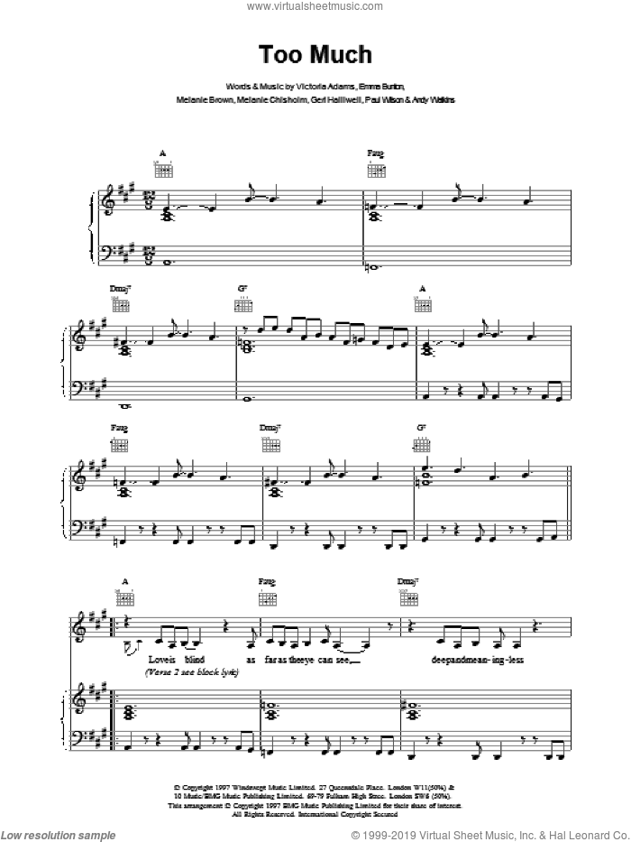 Too Much sheet music for voice, piano or guitar by The Spice Girls, intermediate skill level