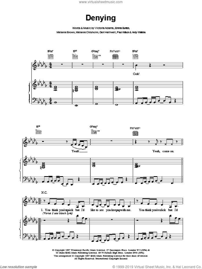 Denying sheet music for voice, piano or guitar by The Spice Girls. Score Image Preview.