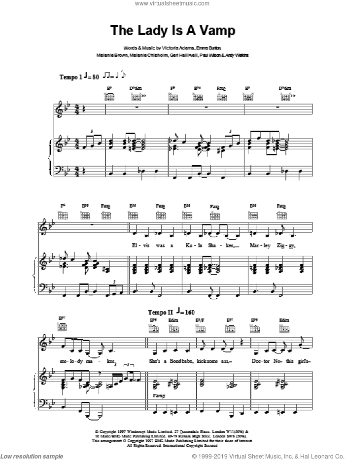 The Lady Is A Vamp sheet music for voice, piano or guitar by The Spice Girls, intermediate voice, piano or guitar. Score Image Preview.
