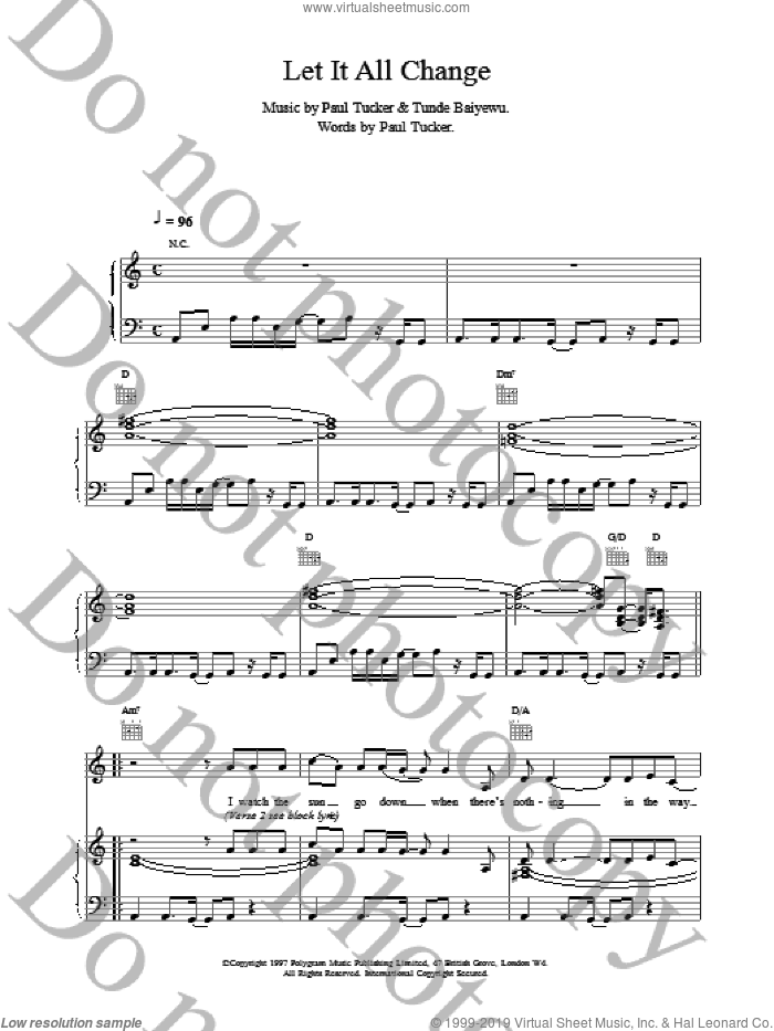 Let It All Change sheet music for voice, piano or guitar by Lighthouse Family. Score Image Preview.