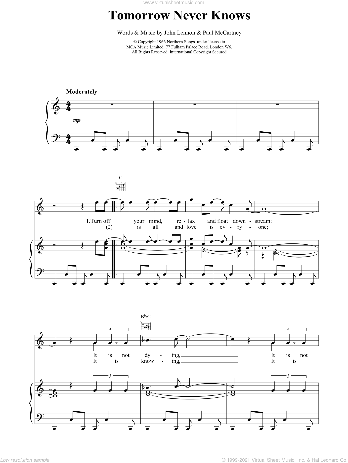 Tomorrow Never Knows sheet music for voice, piano or guitar by The Beatles. Score Image Preview.