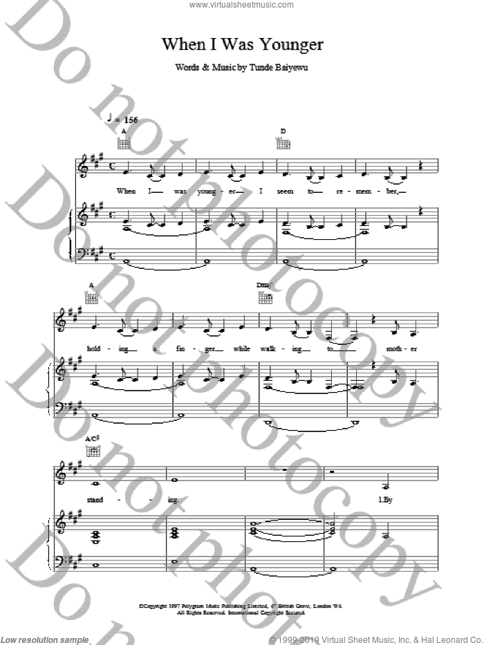 When I Was Younger sheet music for voice, piano or guitar by Lighthouse Family