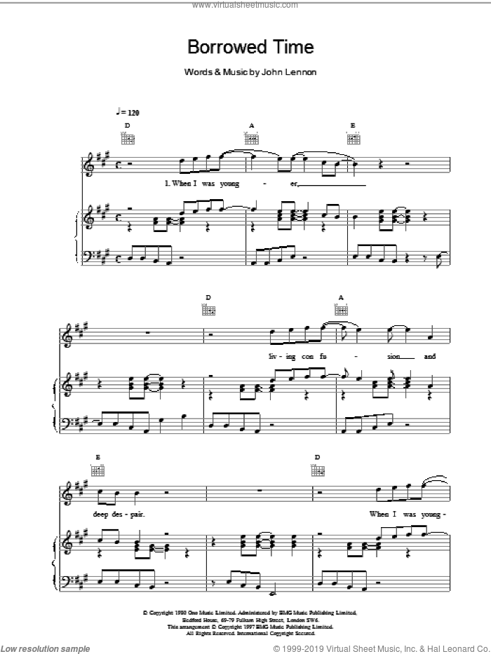 Borrowed Time sheet music for voice, piano or guitar by John Lennon, intermediate skill level
