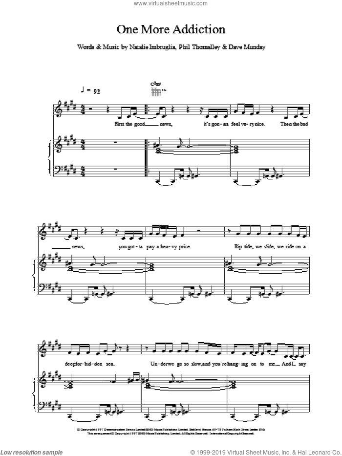 One More Addiction sheet music for voice, piano or guitar by Natalie Imbruglia, intermediate. Score Image Preview.