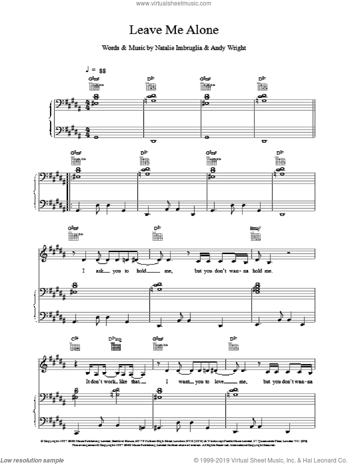 Leave Me Alone sheet music for voice, piano or guitar by Natalie Imbruglia. Score Image Preview.