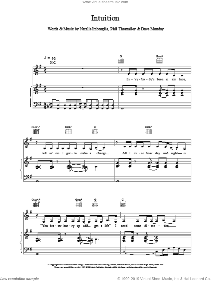 Intuition sheet music for voice, piano or guitar by Natalie Imbruglia. Score Image Preview.